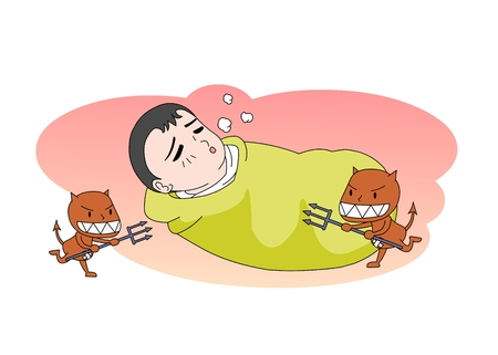 Boy getting attacked by viruses Illustration