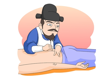 Man practicing medicine in Ancient Korea Vektoros illusztráció