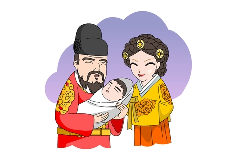 Woman and man with a baby in Ancient Korea
