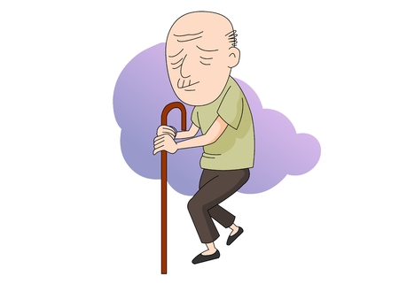 Old man looking sick