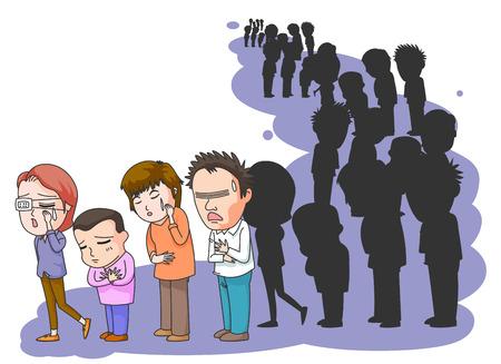 長蛇の列で待っている病気の患者