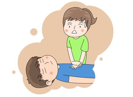 Una muchacha que realiza CPR en un muchacho