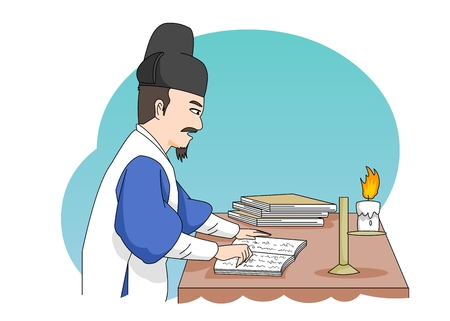 Man studying in Ancient Korea