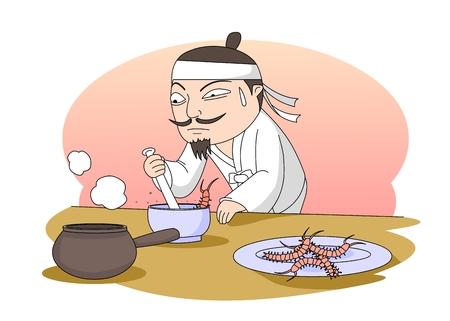 Hombre haciendo medicina en la antigua Corea