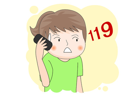 A girl calling 119 Illustration