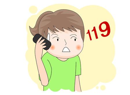 Une fille qui appelle 119 Banque d'images - 75090892
