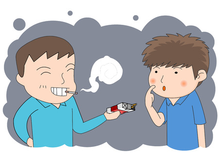 impoverished: A teenage boy offering cigarettes to a friend