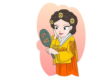 Woman looking at the mirror in Ancient Korea