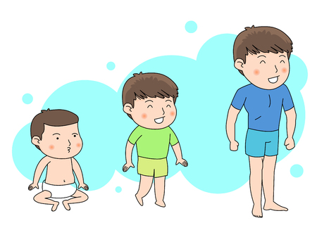 From a baby boy to a teenager Stock Illustratie