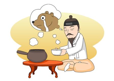 Man making medicine in Ancient Korea Illustration