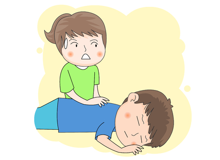 A girl attending to a sick boy
