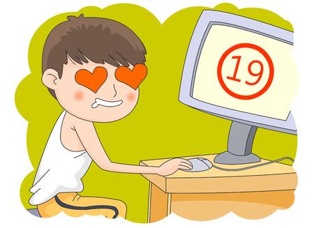 Jeune adolescent regardant des vidéos pour adultes