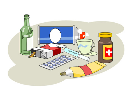 Alcohol, cigarettes and drugs Illustration