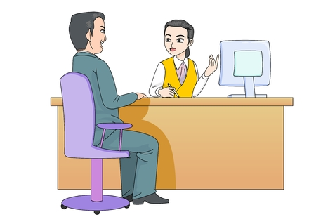 Customer service worker vector illustration Illustration