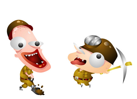 Two crazy looking men working Illustration