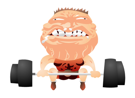 Strong man getting ready to lift weights Illustration