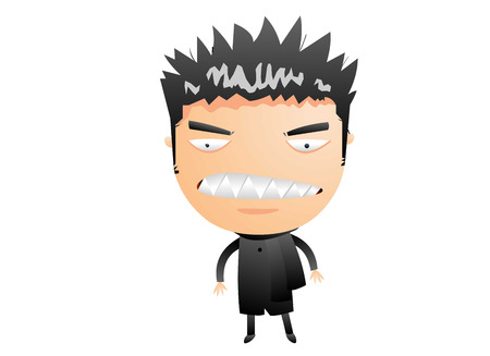nervousness: Man with spiky hair Illustration