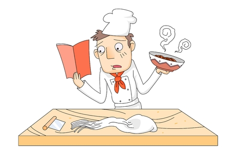 Young adult learning how to cook