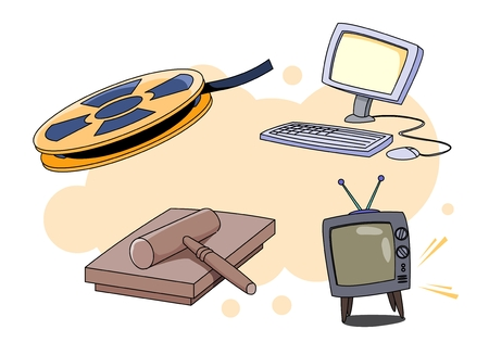 Film reel, desktop computer, television, and mallet