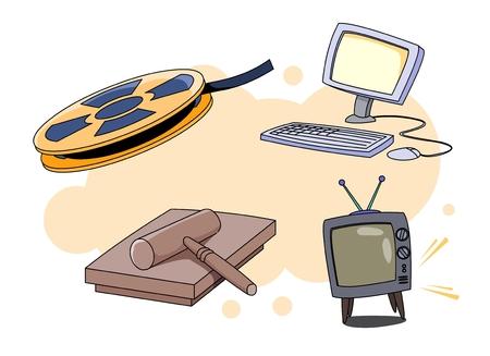 Film reel, desktop computer, television, and mallet