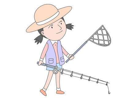 Girl about to go fishing Illustration