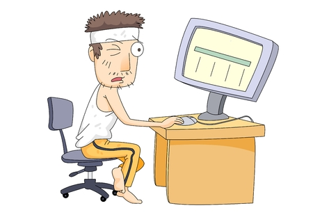 Middle aged man working hard on computer Illustration