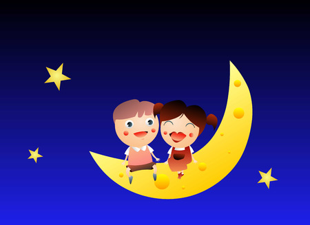 Boy and girl sitting on the moon