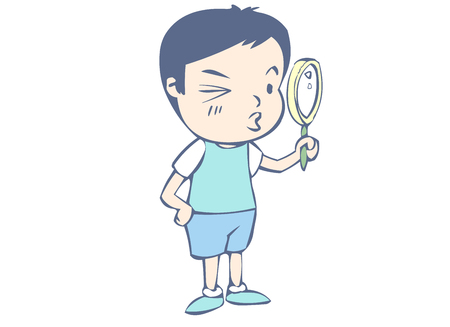Young man exploring with a magnifying glass Illustration