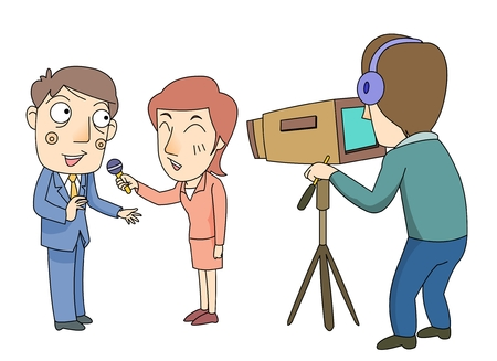 A man being interviewed in front of a camera Illustration