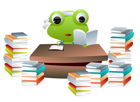 fruition: Frog animation character reading lots of books