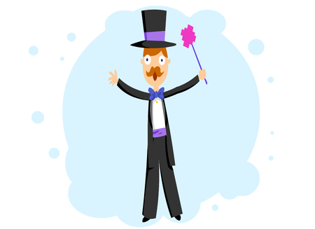 trickery: A magician in a tuxedo Illustration