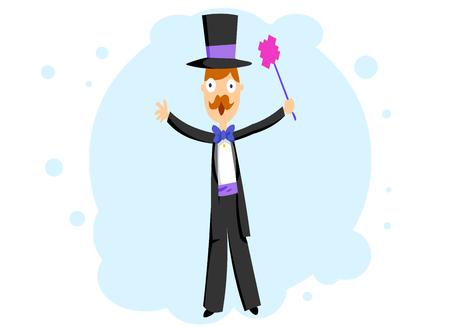 A magician in a tuxedo Illustration