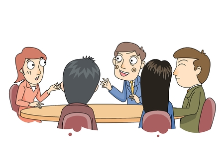 A roundtable meeting 向量圖像