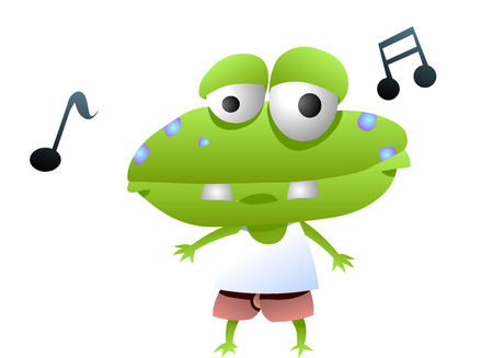 Frog animation character singing