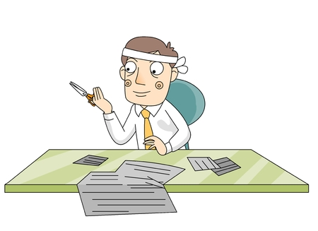 A man sitting at his desk going through paperwork Illustration