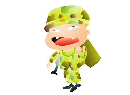 Soldier in green ready for war