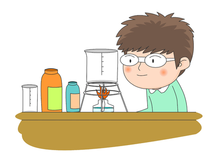 Boy performing a science experiment