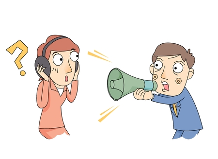 A man yelling at a woman with a megaphone