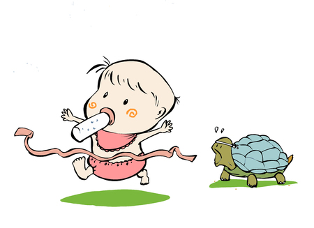 embarrassment: Baby beating turtle in a race