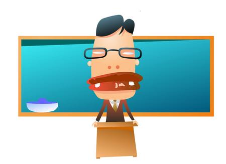 sharpness: Weird looking teacher in front of class Illustration