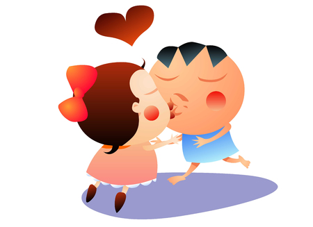 Boy and girl kissing Illustration