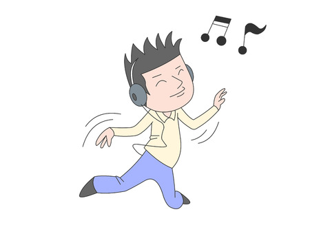 Boy dancing with his headphones on Illustration