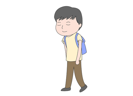 dismissal: Boy walking home from school looking tired