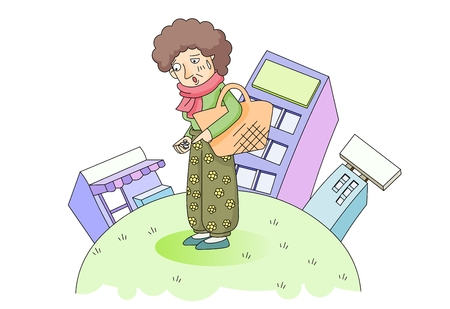 Old lady struggling with little money Illustration
