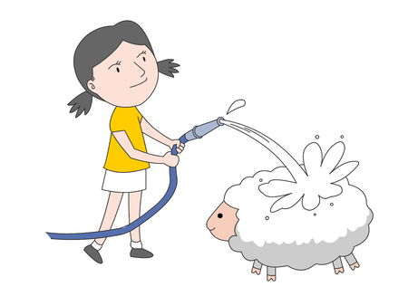 Girl giving her sheep a bath Illustration