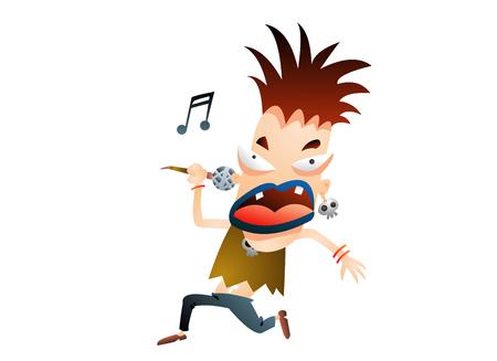 Rock singer singing Illustration