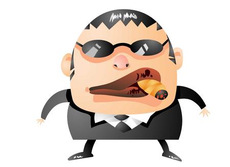 Tough guy smoking a cigar 向量圖像