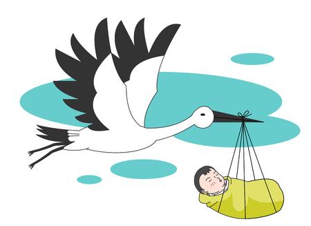 conceived: Stork bringing a newborn Illustration