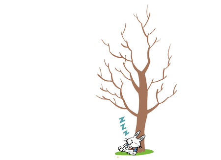 Rabbit taking a nap by a tree Illustration