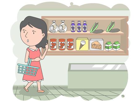 mujer en el supermercado: Mom walking with her shopping basket